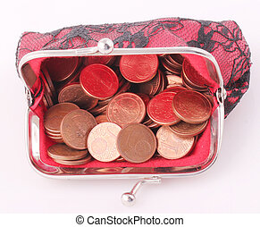 purse - A red purse with 1 cent coins