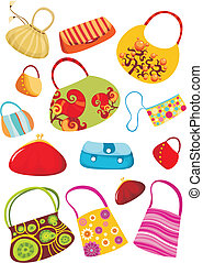 purse set - vector illustration of a cute purse set