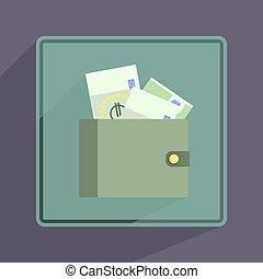 Purse. Single flat icon on white background. Vector illustration.