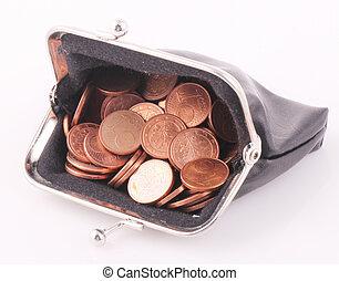 purse - A black purse with 1 cent coins