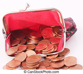 purse - A red purse with coins