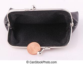 purse - A black purse with a 1 cent coin