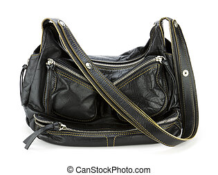 Stylish black leather purse or tote isolated on white background.