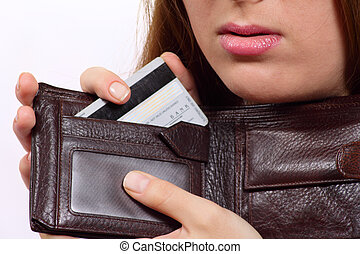 Purse with a bank card