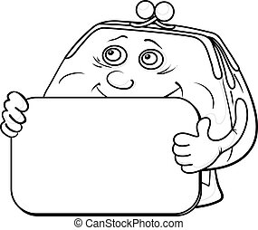 Smiling money purse with a plate for your text, contours. Vector