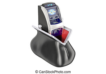 Purse with ATM machine inside, 3D rendering