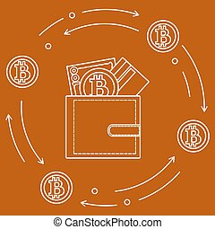 Purse with banknote, credit card and bitcoin.