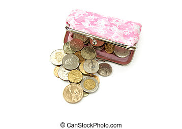 purse with coins - assorted world coins with purse isolated...