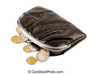 Purse with coins on a white background