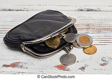 Purse with coins on wood.