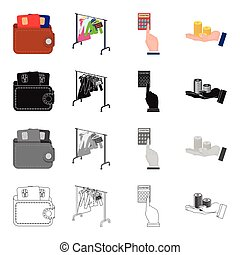 Purse with credit cards, sale Black Friday, counting on a calculator, a stack of coins in hand .Sale and purchase set collection icons in cartoon black monochrome outline style vector symbol stock isometric illustration web.