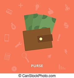 Purse with money icon