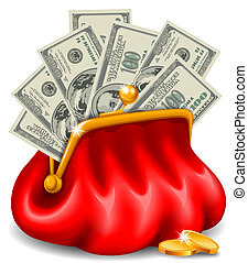 Purse with money - Red leather purse with banknotes and ...