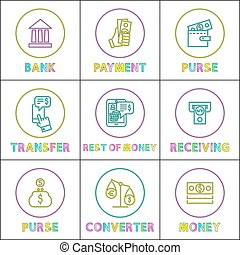 Purse with Payment and Money Converter Color Cards