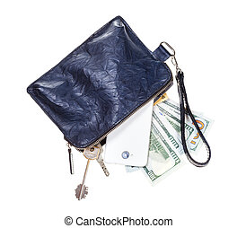 top view of open small blue leather wristlet purse bag with phone, credit cards, door keys and dollars isolated on white backgroun