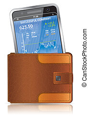 Purse with Smart Phone - Financial Concept - Leather Wallet...