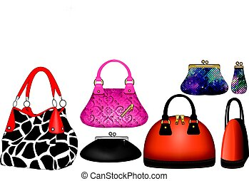 Purses - Vector Illustration of variety of purses and...