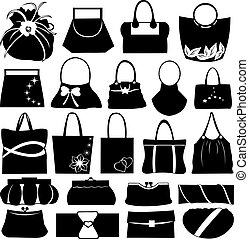 Purses collage isolated on white