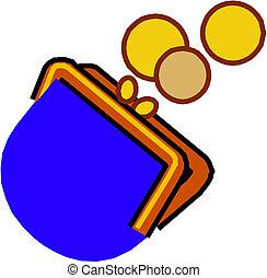 purse's, dinero, goteante, abierto, moneda