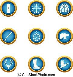 Pursue icons set, flat style