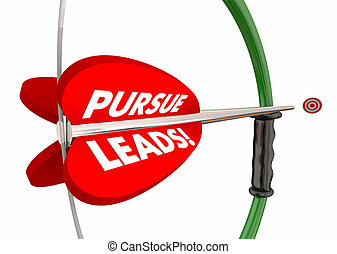Pursue Leads Bow Arrow Target Sell More Customers 3d Illustration