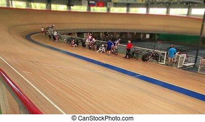 Pursuit cycle race - bike track cycle race tilt film...