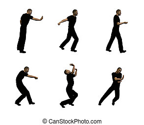 Push and Shove - Profiles of man carrying, pushing and...