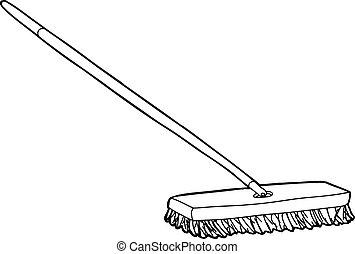 Outlined push broom illustration over white background