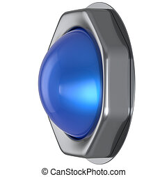 Push button blue start turn on off action activate switch led lamp