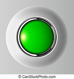 Push button green, 3D shiny vector background.