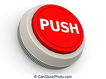 Push button - Hi-res original 3d-rendered computer generated...