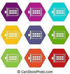 Push button lock icons set 9