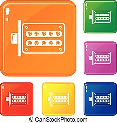 Push button lock icons set vector color