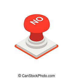 Push button NO icon, isometric 3d style