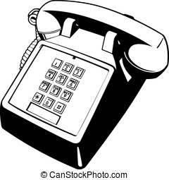 Push Button Phone - Black and white .eps 10 vector...