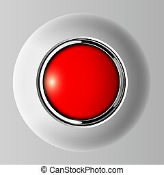Push button red, 3D shiny vector background.