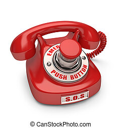 Push Button - Red phone with emergency button. Push the ...