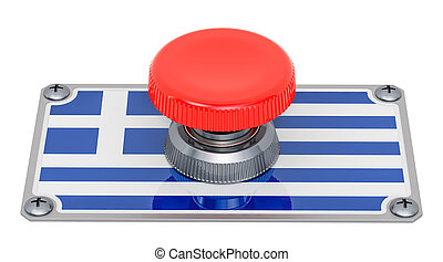 Push button with Greek flag, 3D rendering