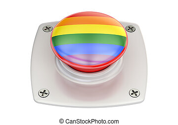 push button with rainbow gay flag, 3D rendering