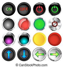 Push Buttons - Round on and off push button vectors