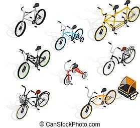 Push Cycles Isometric Set - Bicycle isometric set of...