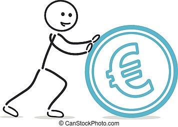 push euro coin