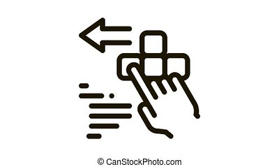push game controller button Icon Animation. black push game controller button animated icon on white background
