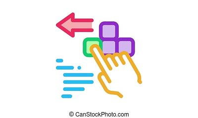 push game controller button Icon Animation. color push game controller button animated icon on white background