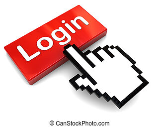 push login button - 3d illustration of hand mouse cursor and...