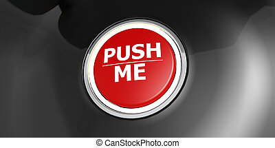 Push me red button with metal ring