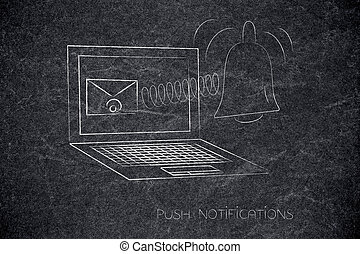 laptop with email on the screen and notification icon ...