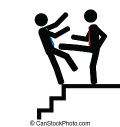 Push on the staps - Vector,illustration. Man push another...