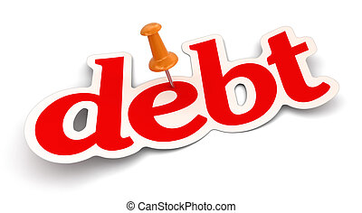 Push Pin and debt. Image with clipping path