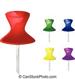 Collection of different color glossy push pins